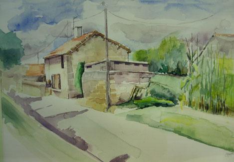 Aquarel,  Rue des Bois