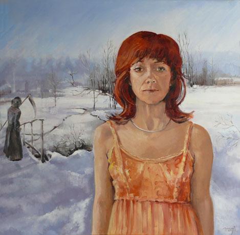 Olieverfschilderij 80 X 80 cm,   Zelfportret