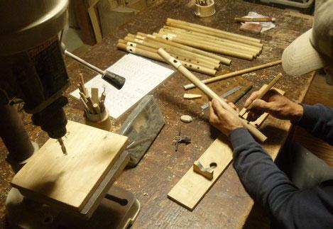 オリジナル横笛A管製作中