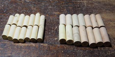 いろいろな木のオカリナ製作中~外形仕上げターニング~