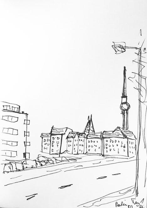 handskizze berlin alexanderplatz fernsehturm pen inc schwarz weiß