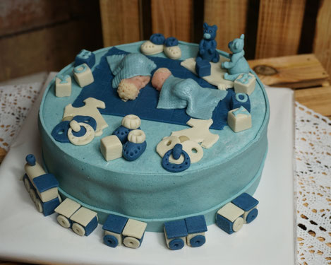 Torte Baby-Party, Torte Baby-Shower, Its´s a boy, Baby-Party Junge, Torte zur Geburt Zwillinge,  Marzipan, Marzipanzauber
