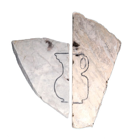 Amphora, 2010, Graphitstift auf Marmor, 15 x 15 cm