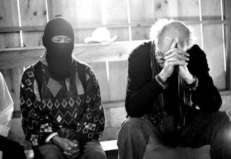 Comandante David y Saramago en la Selva Chiapaneca, México. 1998.
