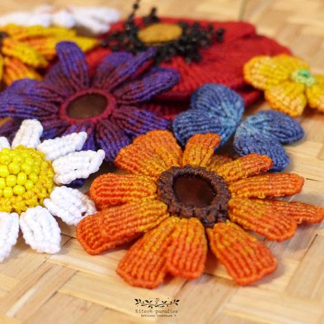 Kitsch, paradise, artisan, créateur, macramé, bijoux, art, nature, fleur