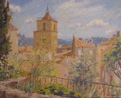 Le cloché de la collégiale, église de Barjols, vue du quartier du Réal.