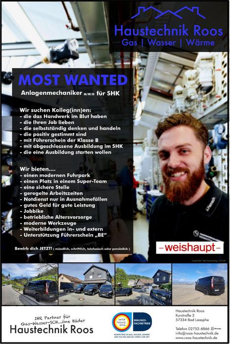 Haustechnik Roos, Ausbildung, Lehrstelle, Job, Gas - Wasser - SCH...öne Bäder