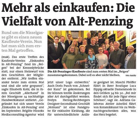 """Artikel in der Bezirkszeitung - Gründung Einkaufsstraßenverein """"Einkaufen in Alt-Penzing"""""""