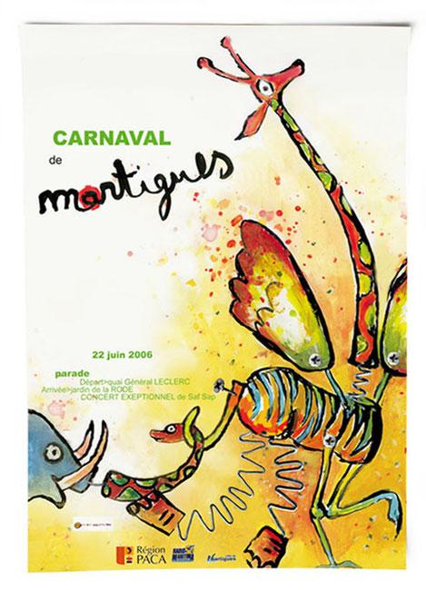 illustration et graphisme de l'affiche du carnaval de Martigues
