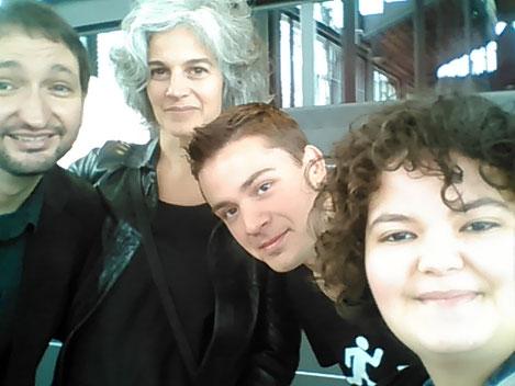 D'esquerra a dreta: Aniol Rafel, Maria Bohigas, Jordi L. Coll i Mixa