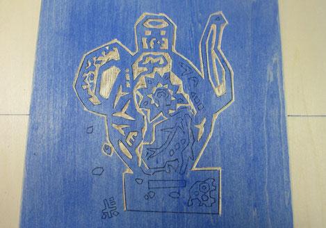 *【蓮花水注うつわとハスの実】木版ベースの彫り途中