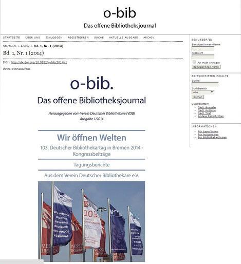 Titelseite des ersten Heft von o-bib