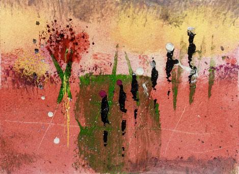 Viandanti e passione, 2018, tecnica mista, 13 x 10 cm