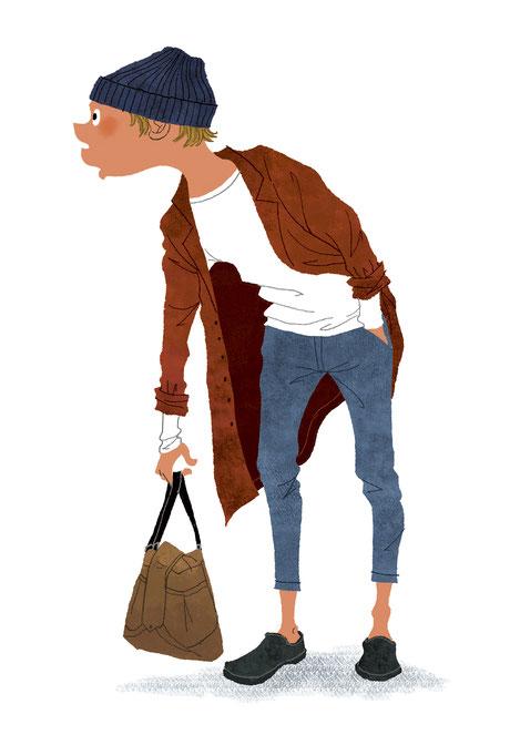 バッグを持ち上げて右を見ている男性のイラスト