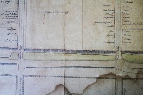 Extrait du plan de Marciac de 1789 (conservé à la Mairie de Marciac)