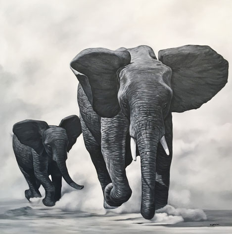 original animal art paintings, oil on canvas, elephant painting