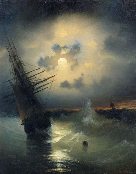 """I. K. Ajvazovskij, """"Nave che salpa in alto mare di notte"""" (1840)"""