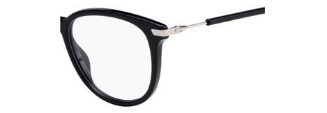 Dettaglio musetto e asta degli occhiali da vista Christian Dior donna. Modello: Dioressence12 807 nero con inserti argentati. Calibro 50-17. Prezzo € 243,00. Materiale: acetato e metallo. Forma: tondeggiante.
