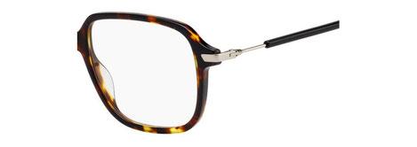 Dettaglio musetto e asta degli occhiali da vista Christian Dior donna. Modello: Dioressence19 EPZ tartarugato con aste nere e argento. Calibro 53-16. Prezzo € 243,00. Materiale: acetato e metallo. Forma: squadrata.