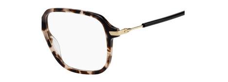 Dettaglio musetto e asta degli occhiali da vista Christian Dior donna. Modello: Dioressence19 HT8 tartarugato con aste nere. Calibro 53-16. Prezzo € 243,00. Materiale: acetato e metallo. Forma: squadrata.