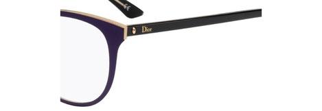 Occhiali da vista Christian Dior donna. Modello: Montaigne13 MVW viola con aste nere. Calibro 52-18. Prezzo € 259,00. Materiale: acetato e metallo. Forma: tondeggiante leggermente a farfalla