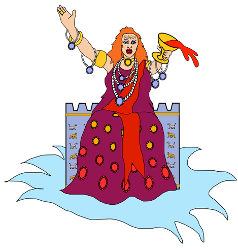 Babylone la grande. La femme était vêtue d'habits de pourpre et d'écarlate, et parée de bijoux d'or, de pierres précieuses et de perles. Elle tenait à la main une coupe d'or pleine de choses abominables et d'obscénités dues à sa prostitution.