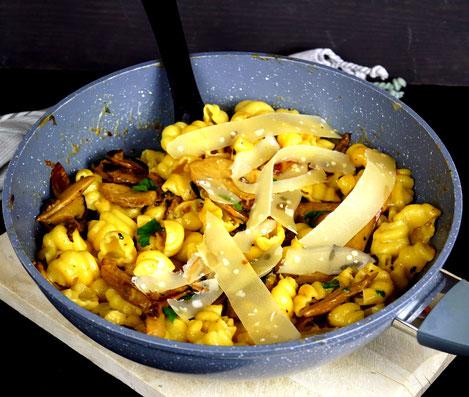 Pasta, Pilze, Sahne, Portwein