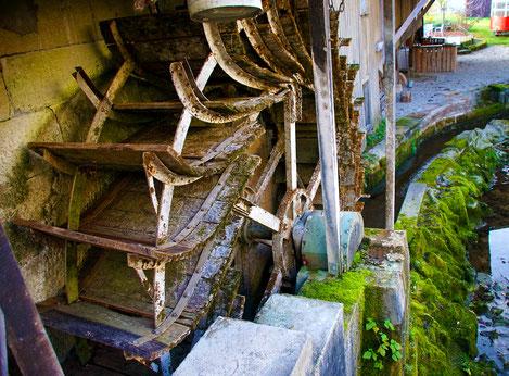 Das alte Wasserrad in der Trost Mühle treibt heute noch die Turbine an.