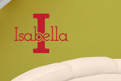 Isabella in red vinyl on a wall. Customisable name and initial wall art. From wallartcompany.co.uk