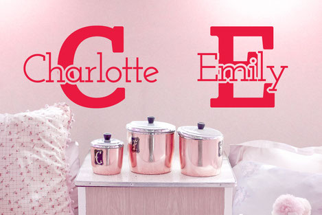 Charlotte and Emily vinyl wall art custom and personalised names from www.wallartcompany.co.uk. Various colours and sizes available. The ultimate girlie bedroom with names over their own beds. Makes a perfect birthday gift for the child who has everything