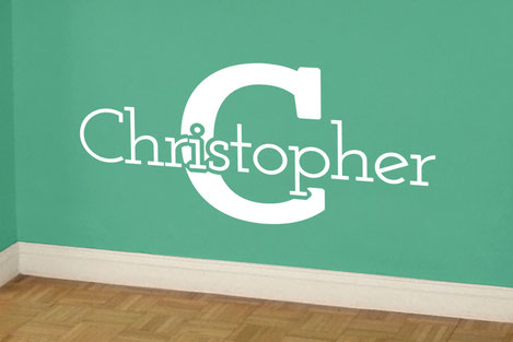 Christopher vinyl wall art custom and personalised decal. Perfect for marking out a play area from www.wallartcompany.co.uk