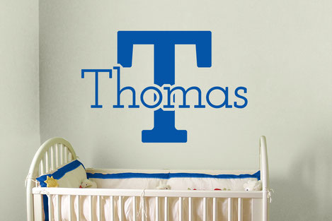 Marine blue Thomas vinyl wall art customisable name and initial. From www.wallartcompany.co.uk