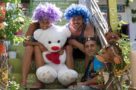 Viviane, Bastian and Murat with donations for kids in Barbaros
