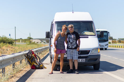 Viviane and Eddy at the Drop off place near Antalya.