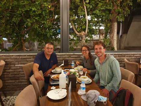 Soner, Viviane and Bastian at dinner in Kusadasi
