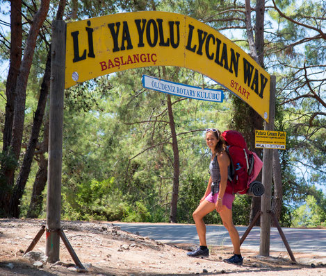 Viviane at the starting point of the Lucian Trail
