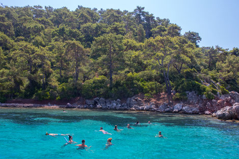 Swimming at the clear water near Marmaris