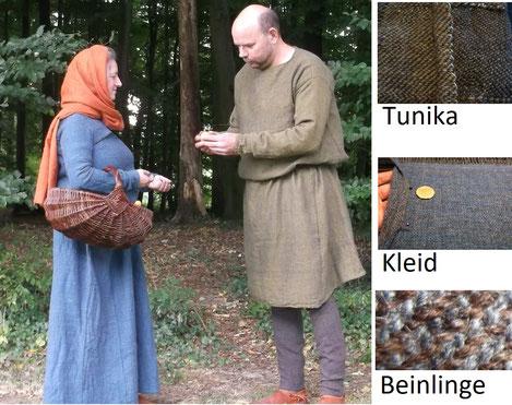 Mittelalter : handgewebte Stoffe für eine Darstellung im 12.Jahrh.