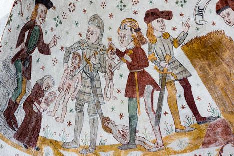 Mittelalterliches Fresco über den Kindermord in der Kirche von Tingsted/Dänemark