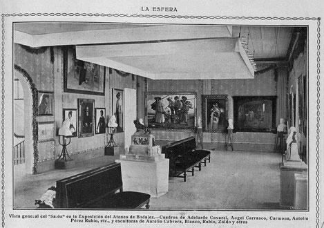 En los salones del primitivo Ateneo de Badajoz, situado en calle San Juán 7-9, tuvieron lugar con extraordinario éxito las primeras exposiciones-concurso de toda Extremadura, con obras de excelentes artistas plásticos.
