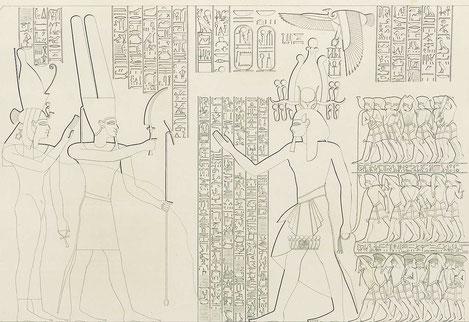 Ramses III. führt Gefangene der Seevölker vor Amun und Mut / Umzeichnung des Originalreliefs am zweiten Pylon des Totentempels Ramses' III. in Medinet Habu von Carl Richard Lepsius (1810–1884)
