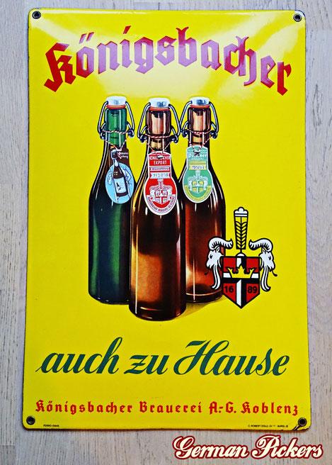 Königsbacher Brauerei Koblenz - auch zu Hause - Emailschild  Deutschland um 1930  C. Robert Dold Offenburg, Ferro Email, 33 x 50 cm