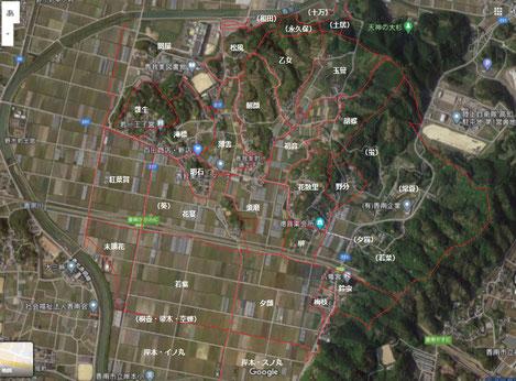 香南市の公図から字境を線引。『香我美町史』徳王子地区全図とは大きく相違