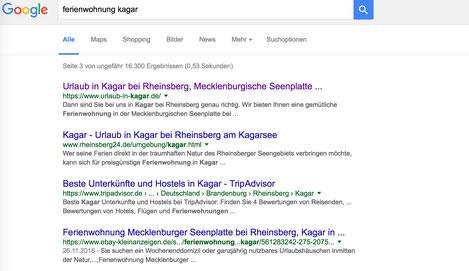 Webseite Ferienwohnung Google Ranking