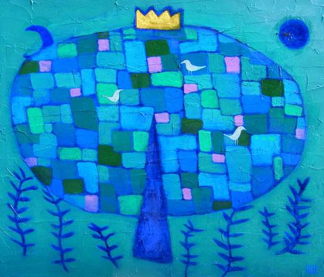 「青い木」 アクリル・パネル P20
