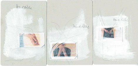 Handstücke 1 (Bildmaterial zu Punctum #4) Acrylfarbe, Bleistift, Fotokopie auf Karton