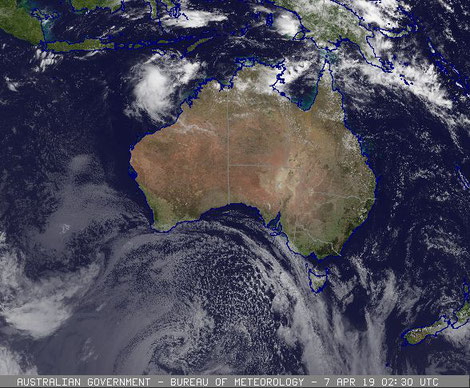 Tropical Cyclone Wallce off the NT coast. Images from BoM