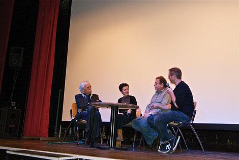 Auswertung im Rahmen des Filmfestivals in Cottbus, v.l. Konrad Herrmann, Anne Holzschuh, Bernd Herrmann, Reiner J. Nagel