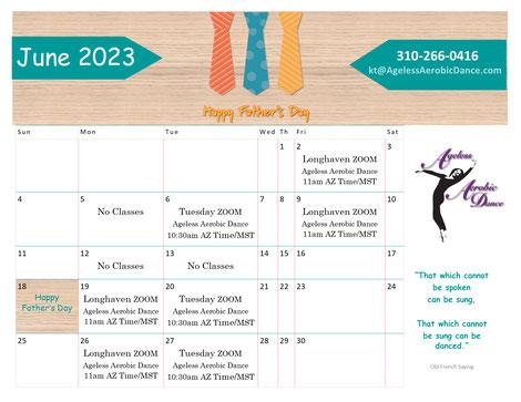 KT's August 2021 Zoom Class Calendar