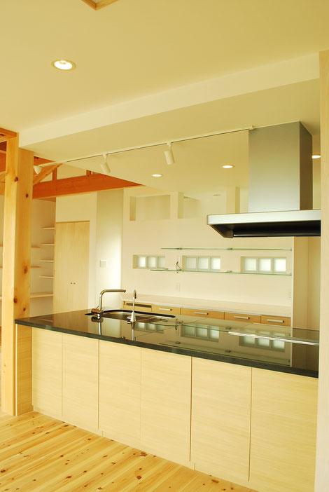 アイランドキッチン オーダーキッチン 二階リビング